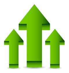 3d arrows up green arrows vector image