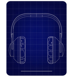 3d model of headphone on a blue vector image