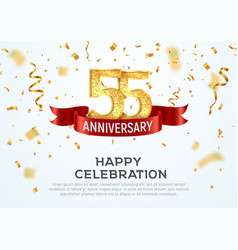 55 years anniversary banner template fifty vector image