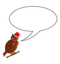 A funny Christmas owl with a speech bubble vector image