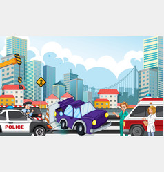 accident scene with car crash on highway vector image