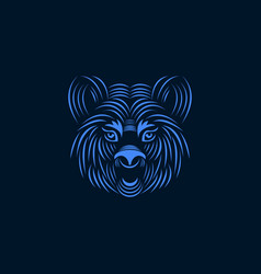 Aggressive tiger face line art style illus vector