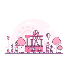 Amusement park - thin line design style vector