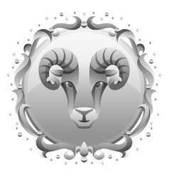 Aries zodiac sign with silver frame horoscope vector