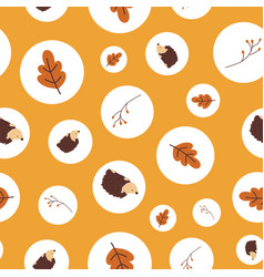autumn polka dot pattern with fall elements vector image