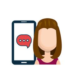 Avatar girl smartphone bubble chat talk social vector