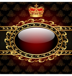 background with a gold crown and a circle of glass vector image vector image