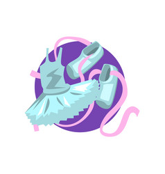 ballet icon shoes and tutu cartoon vector image