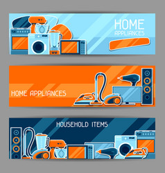 banners with home appliances household items for vector image vector image