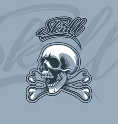 bones and skull monochromic cartoon style with vector image