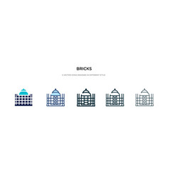 Bricks icon in different style two colored and vector