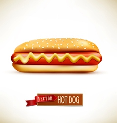 bun with sausage hot dog isolated on a white backg vector image