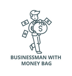 businessman with money bag line icon vector image