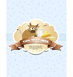 Card with ribbon and cow vector