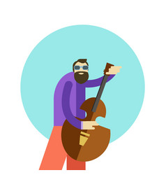 Cartoon hippie man playing vector