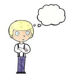 cartoon staring boy with folded arms with thought vector image