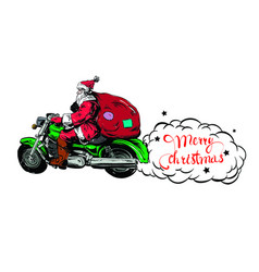 Christmas flyers claus on a motorcycle vector