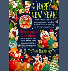 christmas new year santa gift greeting card vector image