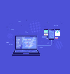 Coding programming application development vector
