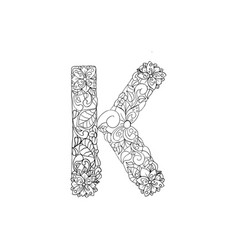 Coloring book ornamental alphabet letter k font vector