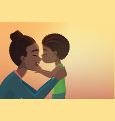 cute little black african american boy kid kisses vector image