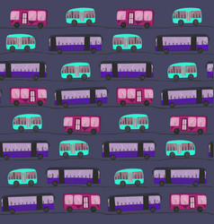 cute pattern wit color buses in the night vector image