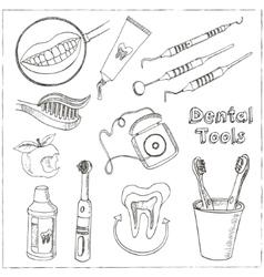Doodle style dentist equipment sketch vector