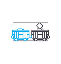 electric traiin thin line stroke icon vector image