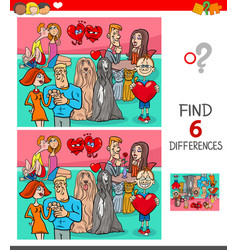 Find differences game with characters in love vector