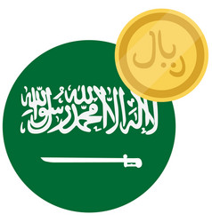 Flag of saudi arabia and golden coin saudi riyal vector