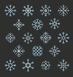 flat design line snowflakes christmas winter and vector image