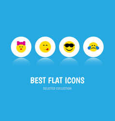 Flat icon expression set of caress delicious food vector