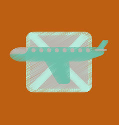 Flat icon in shading style airplanes flight banned vector