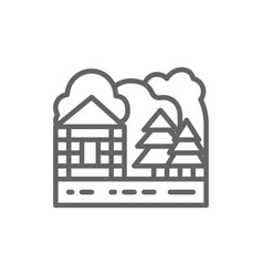 forest house and nature landscape line icon vector image
