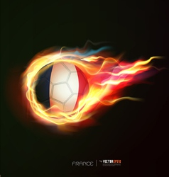 France flag with flying soccer ball on fire vector