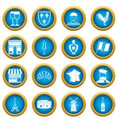 france travel icons blue circle set vector image