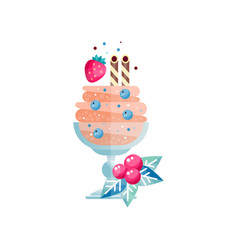 Frozen multi-layered dessert with candy canes vector