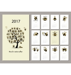 Funny bees calendar 2017 design vector image