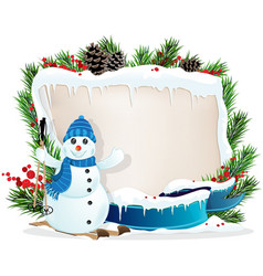 Funny Snowman and Christmas wreath vector image