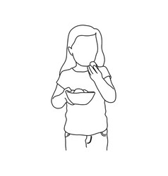 girl holding food in the bowl with right hand vector image