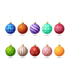 glossy colorful christmas ornate tree toys or vector image