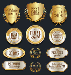 Gold and silver shields laurel wreaths and badges vector
