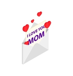 Greeting card for Mother Day in the envelope icon vector image
