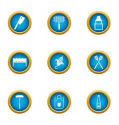 Grill grid icons set flat style vector
