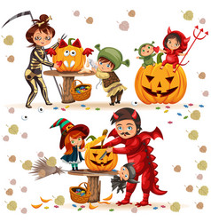 Halloween family colorful set vector
