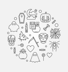 halloween round modern 31 october line vector image