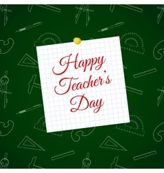 Happy Teacher s Day over cell sheet vector image