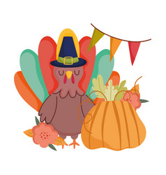 happy thanksgiving day turkey with pilgrim hat vector image