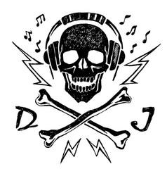 head of a dead dj vector image