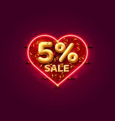 Heart sale 5 off ballon number on white vector